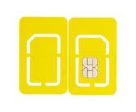Parte posteriore isolata della parte anteriore di SIM Card del telefono cellulare Fotografie Stock Libere da Diritti