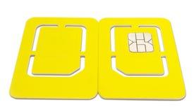 Parte posteriore isolata della parte anteriore di SIM Card del telefono cellulare Fotografia Stock