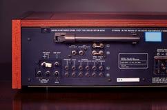 Parte posteriore stereo d'annata del radioricevitore Fotografie Stock