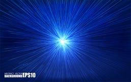 Parte radiale brillante scoppiata con le particelle lineari Illustrazione del absrtact di vettore Fondo blu con l'esplosione Ragg Immagini Stock