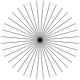 Parte radiale, irradiante le linee sottili diritte In bianco e nero circolare Fotografia Stock