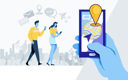 Parte sociale di media La comunità in linea come, parte, applicazione, posizione, navigazione, vettore piano dell'illustrazione d illustrazione di stock