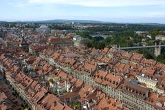 Parte storica di Berna da sopra Immagini Stock Libere da Diritti