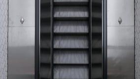 Parte superior abaixo da ideia de mover a escada rolante no metro video estoque