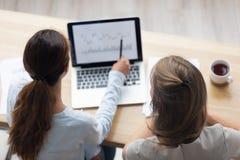 Parte superior acima das mulheres de negócios da vista que trabalham com programa informático foto de stock