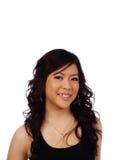 Parte superior americana asiática de sorriso do preto do retrato da mulher Imagens de Stock Royalty Free