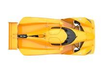 A parte superior automobilístico dos esportes super modernos amarelos ardentes vê para baixo ilustração royalty free