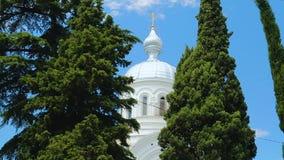 Parte superior branca da igreja entre árvores verdes no fundo do céu azul, Geórgia calmo video estoque