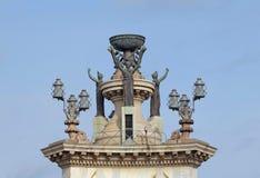 Parte superior da fonte no centro do quadrado de Espanya, Barcelona Imagens de Stock
