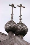 Parte superior da igreja russian de madeira em Kenozero Foto de Stock