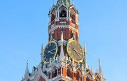 Parte superior de la torre de Spasskaya foto de archivo
