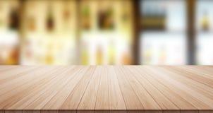 Parte superior de madeira vazia do assoalho da tabela para o produto da exposição ou da montagem Foto de Stock