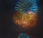 A parte superior de Sydney Fireworks 2014 de CBD fecha-se fotografia de stock