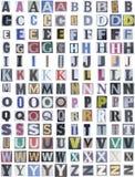 Parte superior del alfabeto del periódico Foto de archivo