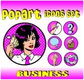 A parte superior do dinheiro do negócio assina emblemas Foto de Stock Royalty Free