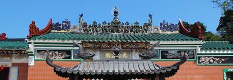 A parte superior do telhado de Tin Hau Temple imagens de stock