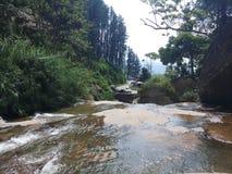 A parte superior dos povos da cachoeira pode banho aqui foto de stock