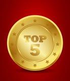 Parte superior dourada cinco Imagens de Stock