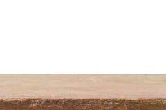Parte superior vazia da bancada ou da tabela marrom da pedra da areia isolada no wh fotos de stock royalty free