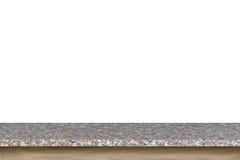 Parte superior vazia da tabela da pedra do granito isolada no fundo branco imagem de stock