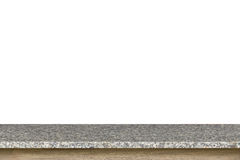 Parte superior vazia da tabela da pedra do granito isolada no fundo branco imagens de stock