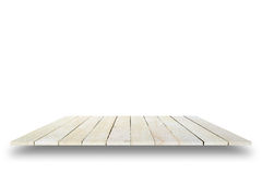 Parte superior vazia da tabela de madeira isolada no fundo branco, para o disp Imagem de Stock