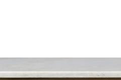 Parte superior vazia da tabela de pedra mable branca isolada no backgroun branco fotos de stock royalty free