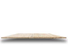 Parte superior vazia da tabela ou do contador de madeira isolada no backgroun branco Fotos de Stock Royalty Free