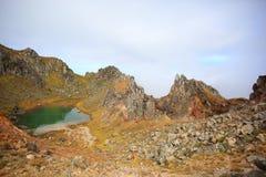 Parte superiore del Mt Yakedake, alpi del nord, Nagano, Giappone Fotografia Stock Libera da Diritti