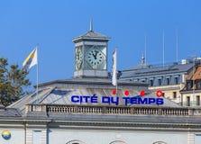 Parte superiore dell'edificio di du Temps di citazione a Ginevra, Svizzera Fotografia Stock Libera da Diritti