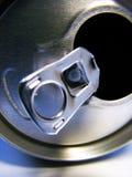 Parte superiore della latta di alluminio aperta Fotografia Stock