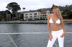 Parte superiore di bikini bianca Fotografia Stock