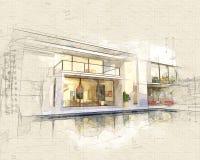 Parte traseira da casa ideal ilustração do vetor