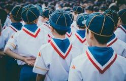 Parte traseira da formação asiática do grupo de escuteiro do menino Imagem de Stock Royalty Free