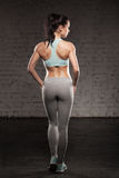 A parte traseira das mulheres no treinamento, menina dos esportes da aptidão com corpo muscular, faz seu exercício Fotos de Stock Royalty Free