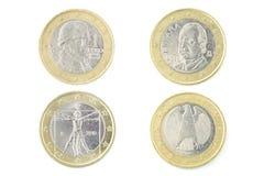 Parte traseira de uma moeda do Euro isolada Foto de Stock Royalty Free