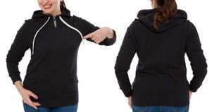 Parte traseira dianteira e opinião preta traseira da camiseta Apontar e mostra da mulher na roupa do molde para o espaço da cópia imagens de stock royalty free