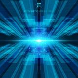 Parte traseira digital futurista do conceito virtual azul abstrato da tecnologia ilustração stock