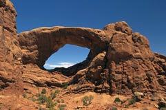 A parte traseira do arco dobro no parque nacional dos arcos Fotografia de Stock