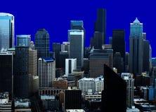 Parte traseira do azul da skyline de Seattle Imagens de Stock
