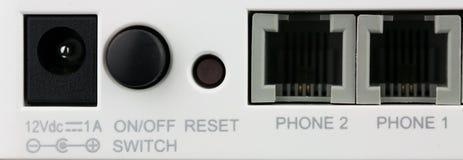 Parte traseira do close up de portos do roteador do wifi imagens de stock royalty free