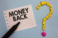 Parte traseira do dinheiro do texto da escrita da palavra O conceito do negócio para obtém o que você pagou em troca do defeito o imagem de stock royalty free