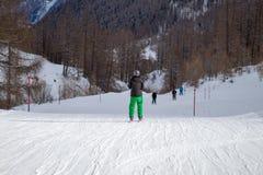 Parte traseira do esquiador fotografia de stock royalty free