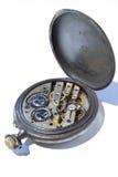 Parte traseira do relógio de bolso antigo fotografia de stock