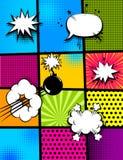 Parte traseira do vertical do pop art da banda desenhada Imagem de Stock