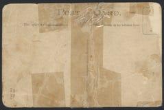 Parte traseira gravada velha do cartão Imagem de Stock