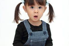 Parte traseira japonesa de sorriso do branco da menina Imagens de Stock