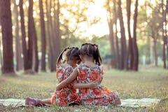 Parte trasera de dos sentarse y abrazos de las muchachas junto Imagen de archivo libre de regalías