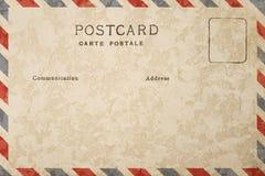 Parte trasera de la postal en blanco con la mancha sucia foto de archivo