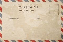 Parte trasera de la postal en blanco con la mancha sucia fotografía de archivo